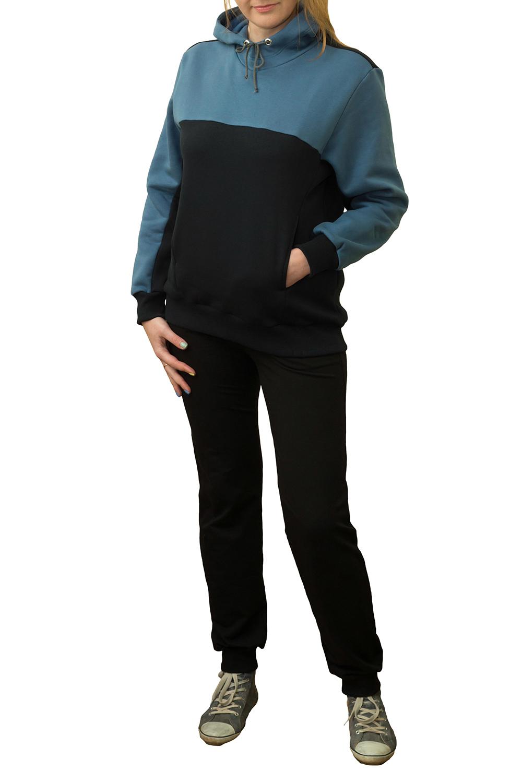 ТолстовкаТолстовки<br>Женская толстовка с капюшоном и длинными рукавами. Модель выполнена из мягкого футера. Отличный выбор для повседневного гардероба и активного отдыха.  Цвет: черный, синий<br><br>По образу: Город,Спорт<br>По рисунку: Цветные<br>По сезону: Весна,Осень<br>По силуэту: Свободные<br>По элементам: С капюшоном,С манжетами<br>Рукав: Длинный рукав<br>По материалу: Трикотаж,Хлопок<br>По стилю: Повседневный стиль,Спортивный стиль<br>Размер : 44,46<br>Материал: Трикотаж<br>Количество в наличии: 4