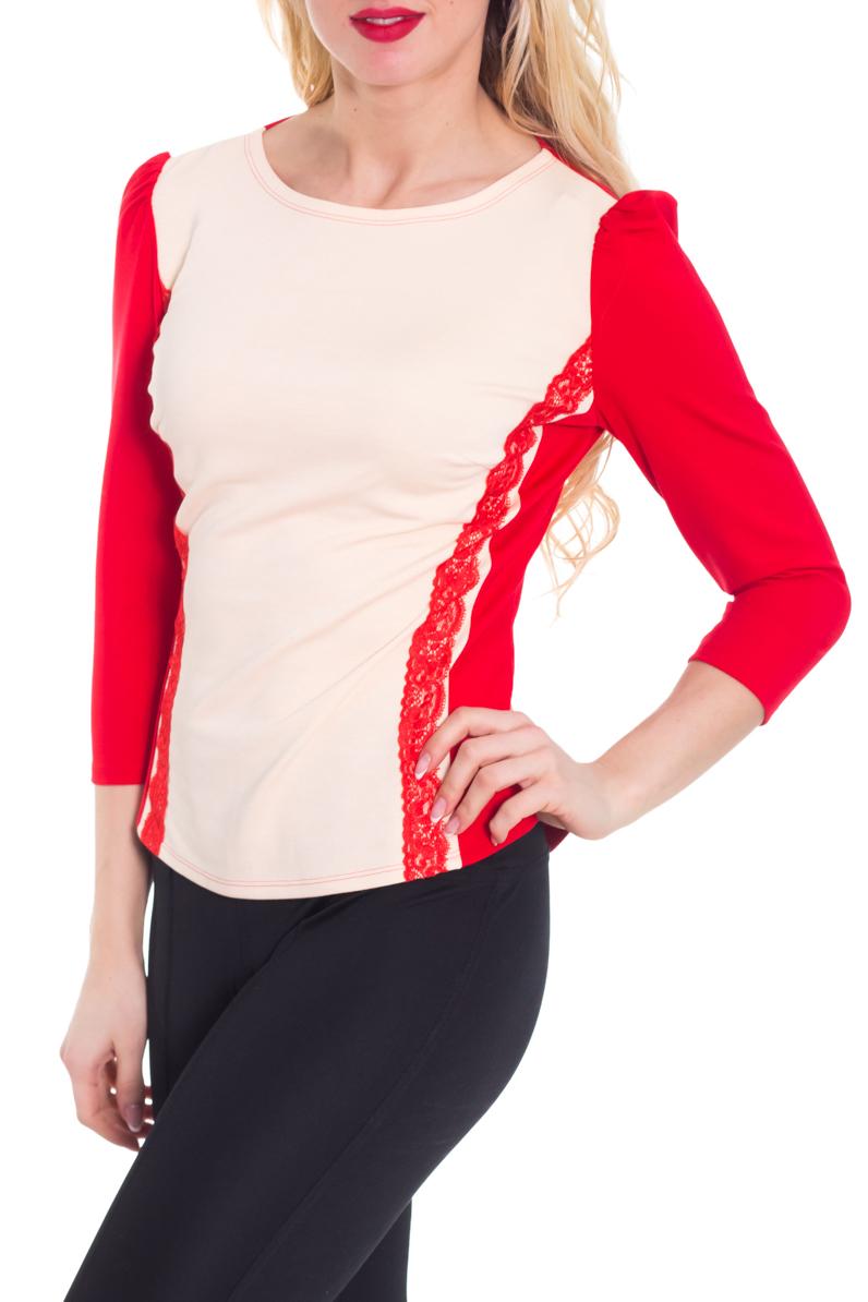 БлузкаБлузки<br>Чудесная блузка приталенного силуэта с круглой горловиной и рукавами 3/4. Модель выполнена из приятного материала. Отличный выбор для любого случая.  Цвет: красный, молочный  Рост девушки-фотомодели 170 см.<br><br>Горловина: С- горловина<br>По материалу: Вискоза,Трикотаж<br>По образу: Город,Свидание<br>По рисунку: Цветные<br>По сезону: Весна,Всесезон,Зима,Лето,Осень<br>По силуэту: Приталенные<br>По стилю: Повседневный стиль<br>По элементам: С декором<br>Рукав: Рукав три четверти<br>Размер : 46<br>Материал: Трикотаж<br>Количество в наличии: 1