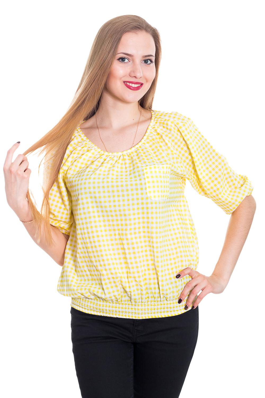 БлузкаБлузки<br>Прелестная женская блузка из приятного к телу трикотажа станет основой Вашего повседневного гардероба. Рукава до локтя.  Цвет: белый, желтый.  Рост девушки-фотомодели 170 см<br><br>Горловина: С- горловина<br>По материалу: Хлопок<br>По образу: Город,Круиз,Свидание<br>По рисунку: Цветные<br>По сезону: Весна,Зима,Лето,Осень,Всесезон<br>По силуэту: Свободные<br>По стилю: Кэжуал,Летний стиль,Повседневный стиль,Романтический стиль<br>По элементам: Со складками<br>Рукав: До локтя<br>Размер : 46<br>Материал: Хлопок<br>Количество в наличии: 1