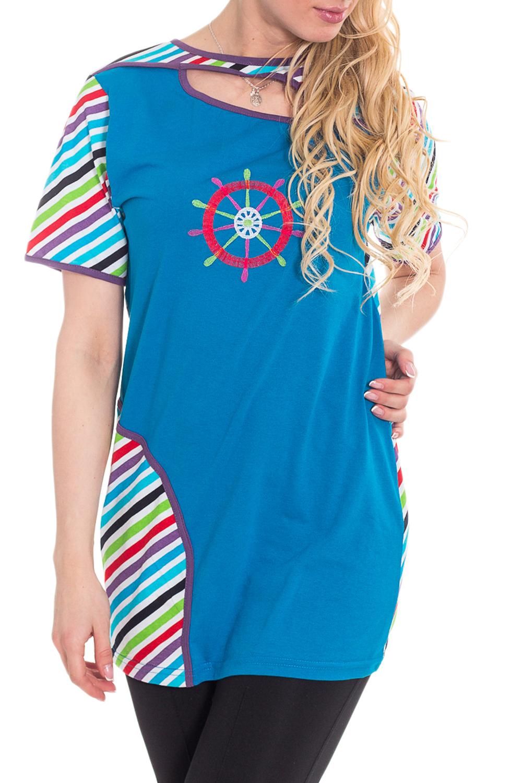 ТуникаТуники<br>Чудесная женская домашная туника. Домашняя одежда, прежде всего, должна быть удобной, практичной и красивой. В тунике Вы будете чувствовать себя комфортно, особенно, по вечерам после трудового дня.  Цвет: сине-голубой и др.  Рост девушки-фотомодели 170 см<br><br>Горловина: Лодочка<br>По длине: Удлиненные<br>По рисунку: В полоску,Цветные,С принтом<br>По сезону: Весна,Зима,Лето,Осень,Всесезон<br>По силуэту: Полуприталенные<br>По элементам: С декором<br>Рукав: Короткий рукав<br>По материалу: Трикотаж,Хлопок<br>Размер : 46,48,58<br>Материал: Трикотаж<br>Количество в наличии: 3
