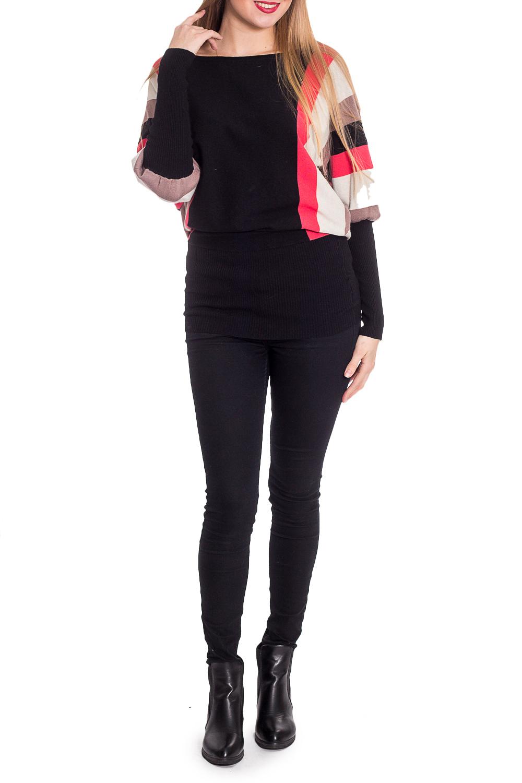 ДжемперДжемперы<br>Цветной джемпер с горловиной лодочка и длинными рукавами. Модель выполнена из мягкого трикотажа. Отличный выбор для повседневного гардероба.   В изделии использованы цвета: черный, бежевый, коралловый  Рост девушки-фотомодели 170 см<br><br>Горловина: Лодочка<br>По материалу: Трикотаж<br>По рисунку: Цветные<br>По сезону: Зима,Осень,Весна<br>По силуэту: Приталенные<br>По стилю: Повседневный стиль<br>Рукав: Длинный рукав<br>Размер : 46-48<br>Материал: Трикотаж<br>Количество в наличии: 1