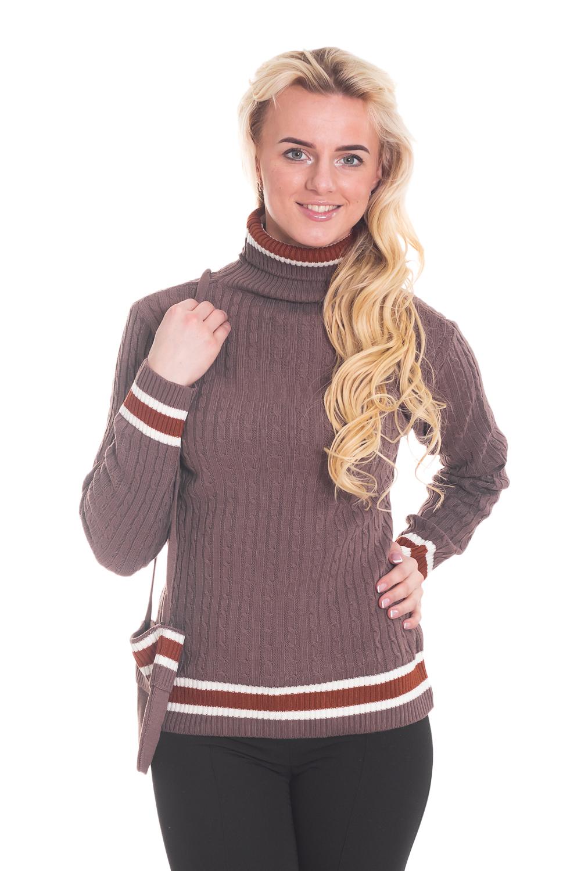 СвитерСвитеры<br>Фактурный свитер с длинными рукавами. Вязаный трикотаж - это красота, тепло и комфорт. В вязаной одежде очень легко оставаться женственной и в то же время не замёрзнуть. Свитер без сумочки.  Цвет: коричневый  Рост девушки-фотомодели 170 см.<br><br>Воротник: Стойка<br>По материалу: Вязаные<br>По образу: Город,Свидание<br>По рисунку: Однотонные<br>По сезону: Весна,Осень,Зима<br>По силуэту: Полуприталенные<br>По стилю: Кэжуал,Повседневный стиль<br>По элементам: С воротником,С декором<br>Рукав: Длинный рукав<br>Размер : 46<br>Материал: Вязаное полотно<br>Количество в наличии: 2
