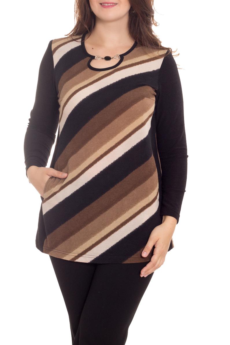 ТуникаТуники<br>Туника прямая, к низу слегка расширеная. В подрезном бочке карман. По горловине декоративная цепочка. Модель выполнена из мягкого трикотажа. Отличный выбор для повседневного гардероба.  Длина изделия: по спинке 76 см  В изделии использованы цвета: черный, коричневый, бежевый  Рост девушки-фотомодели 180 см<br><br>Горловина: Фигурная горловина<br>По материалу: Вискоза,Трикотаж<br>По образу: Город<br>По рисунку: В полоску,С принтом,Цветные<br>По силуэту: Полуприталенные<br>По стилю: Повседневный стиль<br>По элементам: С декором,С карманами,С отделочной фурнитурой<br>Рукав: Длинный рукав<br>По сезону: Осень,Весна<br>Размер : 48,50,52,54,56,58,60<br>Материал: Трикотаж<br>Количество в наличии: 11