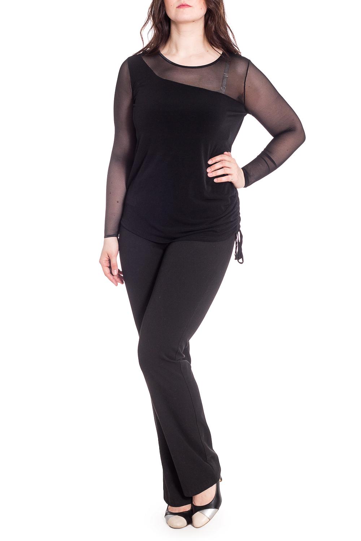 БлузкаБлузки<br>Нарядная блузка с длинными рукавами. Модель выполнена из приятного трикотажа с рукавами из гипюровой сетки. Отличный выбор для любого торжества.В изделии использованы цвета: черныйРост девушки-фотомодели 180 см<br><br>Горловина: С- горловина<br>Рукав: Длинный рукав<br>Материал: Вискоза,Гипюровая сетка<br>Рисунок: Однотонные<br>Сезон: Весна,Всесезон,Зима,Лето,Осень<br>Силуэт: Приталенные<br>Стиль: Нарядный стиль,Повседневный стиль<br>Размер : 48,50,52,54,56<br>Материал: Вискоза + Гипюровая сетка<br>Количество в наличии: 8