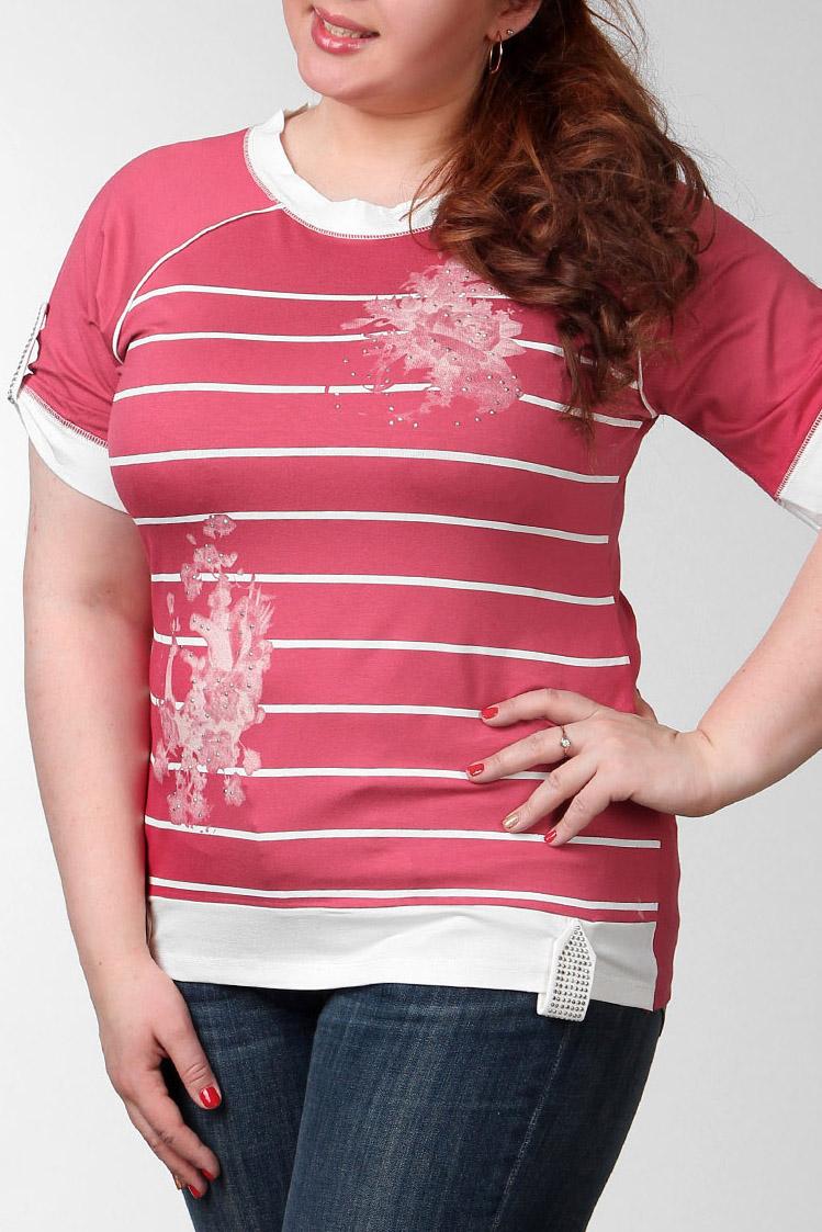 ФутболкаФутболки<br>Замечательная футболка немного свободного кроя и оригинальными рукавами, выполненная из приятного к телу материала, отличный выбор для ощущения повседневного комфорта. Вырез горловины округлый, короткие рукава.  Цвет: розовый, белый  Ростовка изделия 170 см.  Парметры изделия: 40 размер - обхват груди 74-77 см., обхват талии 60-62 см. 42 размер - обхват груди 78-81 см., обхват талии 63-65 см. 44 размер - обхват груди 82-85 см., обхват талии 66-69 см. 46 размер - обхват груди 86-89 см., обхват талии 70-73 см. 48 размер - обхват груди 90-93 см., обхват талии 74-77 см. 50 размер - обхват груди 94-97 см., обхват талии 78-81 см. 52 размер - обхват груди 98-102 см., обхват талии 82-86 см. 54 размер - обхват груди 103-107 см., обхват талии 87-91 см. 56 размер - обхват груди 108-113 см., обхват талии 92-96 см. 58/60 размер - обхват груди 114-119 см., обхват талии 97-102 см. 62 размер - обхват груди 120-125 см., обхват талии 103-108 см.<br><br>Горловина: С- горловина<br>По материалу: Вискоза,Трикотаж<br>По образу: Город,Свидание<br>По рисунку: Растительные мотивы,С принтом,Цветные,Цветочные,В полоску<br>По сезону: Весна,Всесезон,Зима,Лето,Осень<br>По силуэту: Полуприталенные<br>По стилю: Повседневный стиль<br>По элементам: С декором,С патами<br>Рукав: Короткий рукав<br>Размер : 54,56<br>Материал: Вискоза<br>Количество в наличии: 2