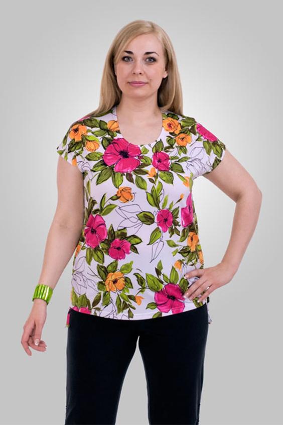 БлузкаБлузки<br>Однотонная женская блузка полуприталенного силуэта с декоративным элементом на груди. Модель выполнена из приятного трикотажа. Отличный выбор для любого случая.  Цвет: белый, зеленый, розовый, оранжевый  Рост девушки-фотомодели 170 см<br><br>Горловина: С- горловина<br>По материалу: Вискоза,Трикотаж<br>По образу: Город,Свидание<br>По рисунку: Растительные мотивы,С принтом,Цветные,Цветочные<br>По сезону: Весна,Зима,Лето,Осень,Всесезон<br>По силуэту: Полуприталенные<br>По стилю: Повседневный стиль<br>Рукав: Короткий рукав<br>Размер : 60-62,64-66,68-70<br>Материал: Холодное масло<br>Количество в наличии: 15