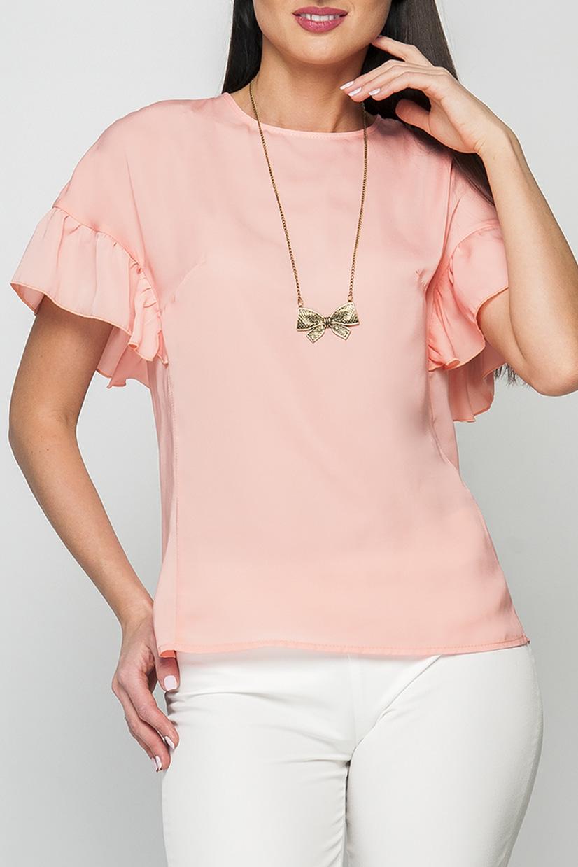 БлузкаБлузки<br>Женская блуза прямого силуэта длиной до бедер, горловина изделия круглая, обработана окантовкой, рукав оформлен пышными воланами, застежка по спинке изделия на пуговицу.  Параметры изделия:  44 размер: обхват груди - 96 см, длина изделия - 60 см; 52 размер: обхват груди - 110 см, длина изделия - 63 см.  Цвет: светло-коралловый  Рост девушки-фотомодели 175 см<br><br>Горловина: С- горловина<br>По материалу: Шифон<br>По рисунку: Однотонные<br>По сезону: Весна,Зима,Лето,Осень,Всесезон<br>По стилю: Повседневный стиль,Романтический стиль,Летний стиль<br>По элементам: С воланами и рюшами<br>Рукав: Короткий рукав<br>По силуэту: Прямые<br>Размер : 42,44,50,52<br>Материал: Шифон<br>Количество в наличии: 7