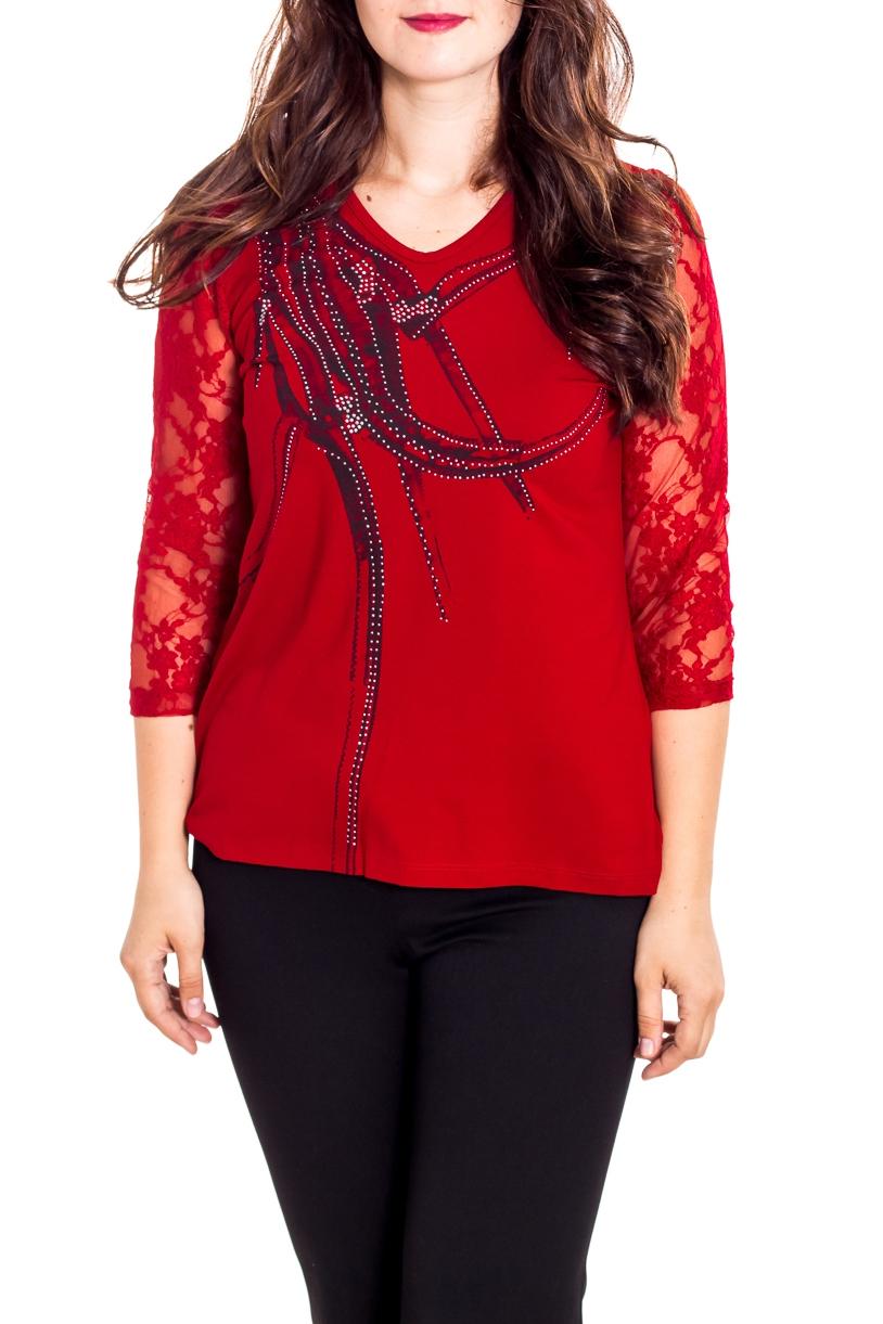 БлузкаБлузки<br>Яркая блузка с рукавами 3/4. Модель выполнена из приятного материала. Отличный выбор для любого случая.  В изделии использованы цвета: красный и др.  Рост девушки-фотомодели 180 см.<br><br>Горловина: V- горловина<br>По материалу: Вискоза,Трикотаж<br>По рисунку: С принтом,Цветные<br>По сезону: Весна,Зима,Лето,Осень,Всесезон<br>По силуэту: Приталенные<br>По стилю: Нарядный стиль<br>Рукав: Рукав три четверти<br>Размер : 48,50<br>Материал: Вискоза<br>Количество в наличии: 2