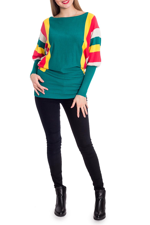 ДжемперДжемперы<br>Цветной джемпер с горловиной quot;лодочкаquot; и длинными рукавами. Модель выполнена из мягкого трикотажа. Отличный выбор для повседневного гардероба.   В изделии использованы цвета: зеленый, желтый, красный, белый  Рост девушки-фотомодели 170 см<br><br>Горловина: Лодочка<br>По материалу: Трикотаж<br>По рисунку: Цветные<br>По сезону: Зима,Осень,Весна<br>По силуэту: Приталенные<br>По стилю: Повседневный стиль<br>Рукав: Длинный рукав<br>Размер : 46-48<br>Материал: Трикотаж<br>Количество в наличии: 1