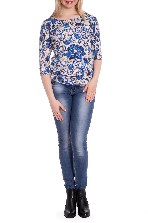 БлузкаБлузки<br>Цветная блузка с круглой горловиной и рукавами 3/4. Модель выполнена из мягкой вискозы. Отличный выбор для повседневного гардероба.  В изделии использованы цвета: синий, бежевый, белый  Рост девушки-фотомодели 170 см<br><br>Горловина: С- горловина<br>По материалу: Вискоза<br>По рисунку: С принтом,Цветные<br>По сезону: Весна,Зима,Лето,Осень,Всесезон<br>По силуэту: Полуприталенные<br>По стилю: Повседневный стиль<br>Рукав: Рукав три четверти<br>Размер : 46,58<br>Материал: Вискоза<br>Количество в наличии: 2