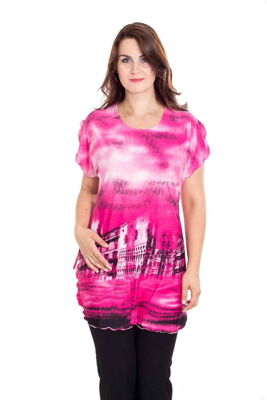 БлузкаТуники<br>Цветная блузка с короткими рукавами. Домашняя одежда, прежде всего, должна быть удобной, практичной и красивой. В наших изделиях Вы будете чувствовать себя комфортно, особенно, по вечерам после трудового дня.  В изделии использованы цвета: розовый, белый и др.  Рост девушки-фотомодели 180 см<br><br>Горловина: С- горловина<br>По длине: Удлиненные<br>По материалу: Вискоза,Трикотаж<br>По рисунку: Цветные,С принтом<br>По сезону: Весна,Зима,Лето,Осень,Всесезон<br>По силуэту: Полуприталенные<br>Рукав: Короткий рукав<br>Размер : 62,64,66,70<br>Материал: Холодное масло<br>Количество в наличии: 2
