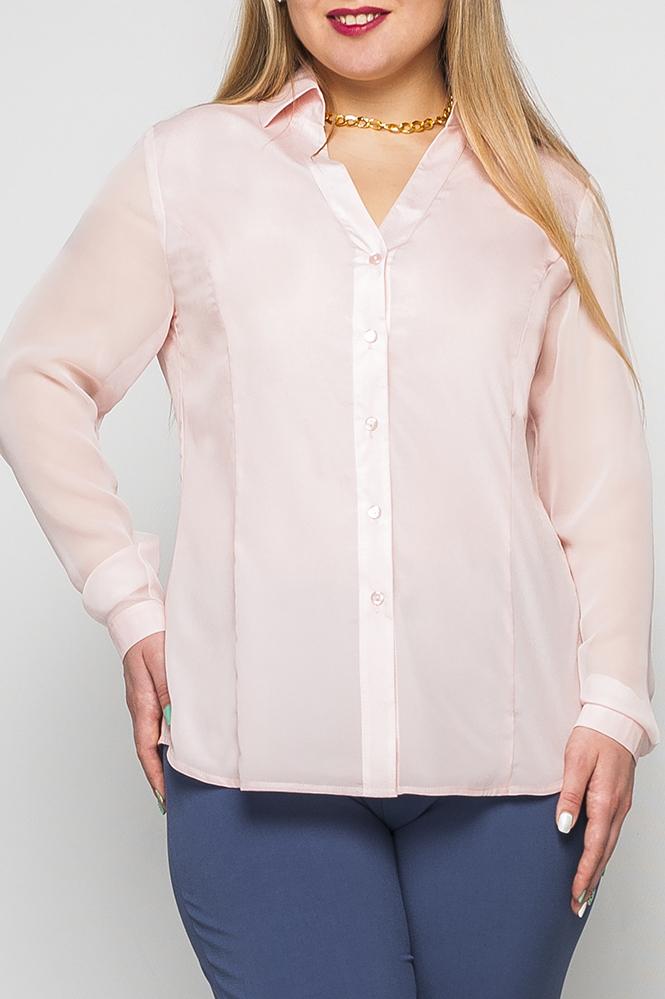 РубашкаРубашки<br>Рубашка женская из шифона полуприлегающего силуэта. Рукав втачной, длинный на манжете. Воротник рубашечный на отрезной стойке. Вырез V-образный. Застежка на пуговицы по планке полочек. Низ изделия фигурный.   Параметры изделия:  на 44 размер: длина по спинке - 67см, полуобхват по линии груди - 50см, длина рукава - 61 см;  на 52 размер: длина по спинке - 69см, полуобхват по линии груди - 58см, длина рукава - 62,5 см.  Цвет: розовый  Рост девушки-фотомодели 170 см<br><br>Воротник: Рубашечный,Стояче-отложной<br>Горловина: V- горловина<br>Застежка: С пуговицами<br>По материалу: Шелк<br>По рисунку: Однотонные<br>По сезону: Весна,Зима,Лето,Осень,Всесезон<br>По силуэту: Полуприталенные,Прямые<br>По стилю: Классический стиль,Кэжуал,Офисный стиль,Повседневный стиль,Романтический стиль<br>По элементам: С вырезом,С декором,С манжетами<br>Рукав: Длинный рукав<br>Размер : 44,46,48,50,52,54,56<br>Материал: Искусственный шелк<br>Количество в наличии: 10