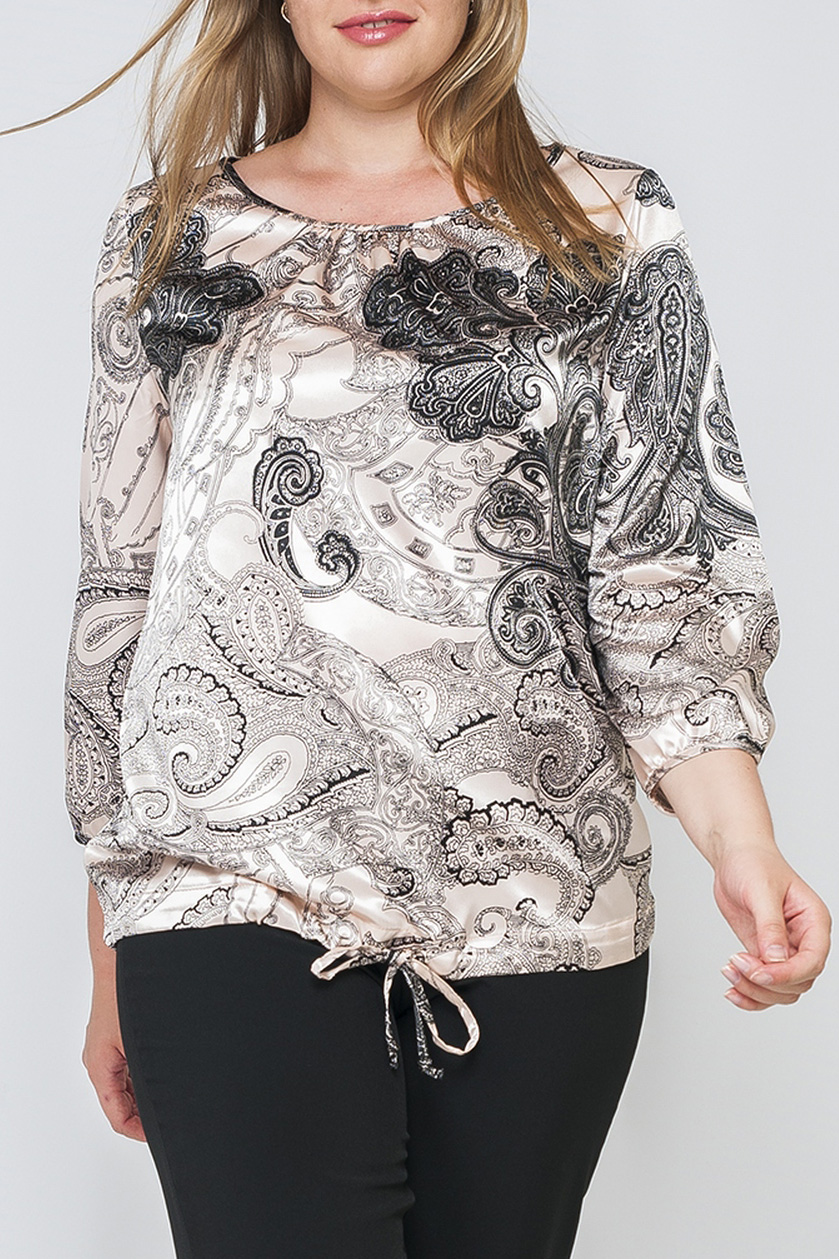 БлузкаБлузки<br>Женская блуза из атласа, модель свободного кроя, по низу изделия сделаны тесемочки для регулирования обхвата бедер. Нежная кремовая расцветка в сочетании с черными цветочными узорами добавляет модели привлекательности. Принт купонный, расположение рисунка может меняться.  Параметры изделия:  44 размер: обхват по линии груди 100 см, обхват по линии бедер 110 см, длина изделия - 61,5 см, длина рукава - 50 см; 52 размер: обхват по линии груди 116 см, обхват по линии бедер 126 см, длина изделия - 66 см, длина рукава - 50,5 см  Рост девушки-фотомодели 175 см<br><br>Горловина: С- горловина<br>По материалу: Атлас<br>По образу: Город,Свидание<br>По рисунку: С принтом,Цветные<br>По сезону: Весна,Зима,Лето,Осень,Всесезон<br>По силуэту: Полуприталенные<br>По стилю: Повседневный стиль<br>Рукав: Рукав три четверти<br>Размер : 48,50,54,56,58,60<br>Материал: Атлас<br>Количество в наличии: 3