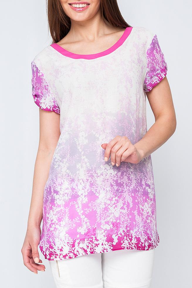 БлузкаБлузки<br>Цветная блузка с круглой горловиной и короткими рукавами. Модель выполнена из хлопкового материала. Отличный выбор для повседневного гардероба.  Параметры изделия:  42 размер: обхват груди 94 см, длина изделия 68 см;  46 размер: обхват груди 102 см, длина изделия 75 см.  Цвет: розовый, белый  Рост девушки-фотомодели 170 см<br><br>Горловина: С- горловина<br>По материалу: Хлопок<br>По рисунку: С принтом,Цветные<br>По сезону: Весна,Зима,Лето,Осень,Всесезон<br>По силуэту: Свободные<br>По стилю: Повседневный стиль,Летний стиль<br>Рукав: Короткий рукав<br>По элементам: С патами<br>Размер : 42,44,46,50,52<br>Материал: Хлопок<br>Количество в наличии: 5