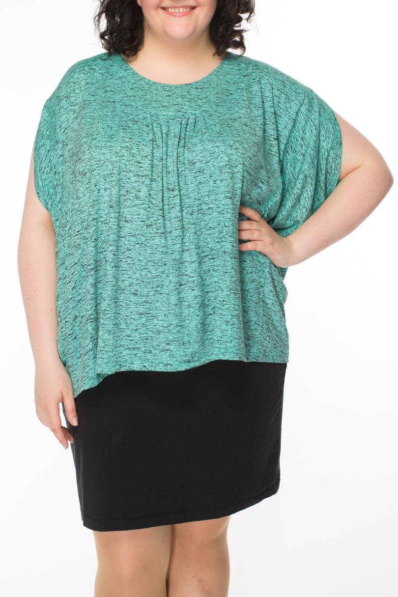 БлузкаБлузки<br>Вместо футболки-просторная блузка из натурального материала с оригинальными боковыми частями, создающими иллюзию рукавов. Функцию нагрудных выточек выполняют складки у планки горлдовины. Превосходный летний вариант.  Длина изделия 68 см  Цвет: мятный, серый  Рост девушки-фотомодели 170 см.<br><br>Горловина: С- горловина<br>По материалу: Вискоза<br>По образу: Город<br>По рисунку: С принтом,Цветные<br>По сезону: Весна,Зима,Лето,Осень,Всесезон<br>По силуэту: Прямые,Свободные<br>По стилю: Повседневный стиль<br>Рукав: Короткий рукав<br>Размер : 54,56,58,60,62,64<br>Материал: Вискоза<br>Количество в наличии: 12