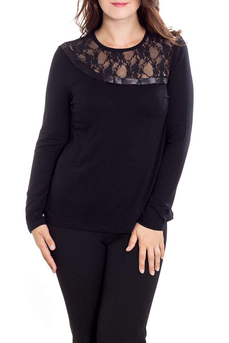 БлузкаБлузки<br>Однотонная блузка с длинными рукавами. Модель выполнена из мягкого трикотажа и гипюра. Отличный выбор для любого случая.  Цвет: черный  Рост девушки-фотомодели 180 см<br><br>Горловина: С- горловина<br>По материалу: Вискоза,Гипюр,Трикотаж<br>По рисунку: Однотонные<br>По сезону: Весна,Зима,Лето,Осень,Всесезон<br>По силуэту: Приталенные<br>По стилю: Нарядный стиль,Повседневный стиль<br>Рукав: Длинный рукав<br>Размер : 48,50<br>Материал: Трикотаж + Гипюр<br>Количество в наличии: 2