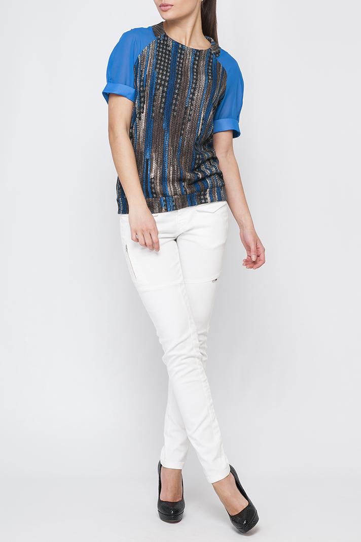 ДжемперБлузки<br>Стильный женский джемпер, контрастное сочетание рукавов и основного цвета ткани будет смотреться оригинально. Джемпер будет отлично сочетаться как с юбкой так и с брюками.  Параметры изделия: 44 размер: обхват по линии бедер - 99,5 см, длина по спинке - 65,5 см; 50 размер: обхват по линии бедер - 112,5 см, длина по спинке 68,5 - см.  В изделии использованы цвета: синий, коричневый и др.  Рост девушки-фотомодели 170 см<br><br>Горловина: С- горловина<br>По материалу: Трикотаж,Шифон<br>По рисунку: С принтом,Цветные<br>По сезону: Весна,Зима,Лето,Осень,Всесезон<br>По силуэту: Прямые<br>По стилю: Повседневный стиль<br>По элементам: С манжетами<br>Рукав: Короткий рукав<br>Размер : 42,44,46<br>Материал: Трикотаж + Шифон<br>Количество в наличии: 4