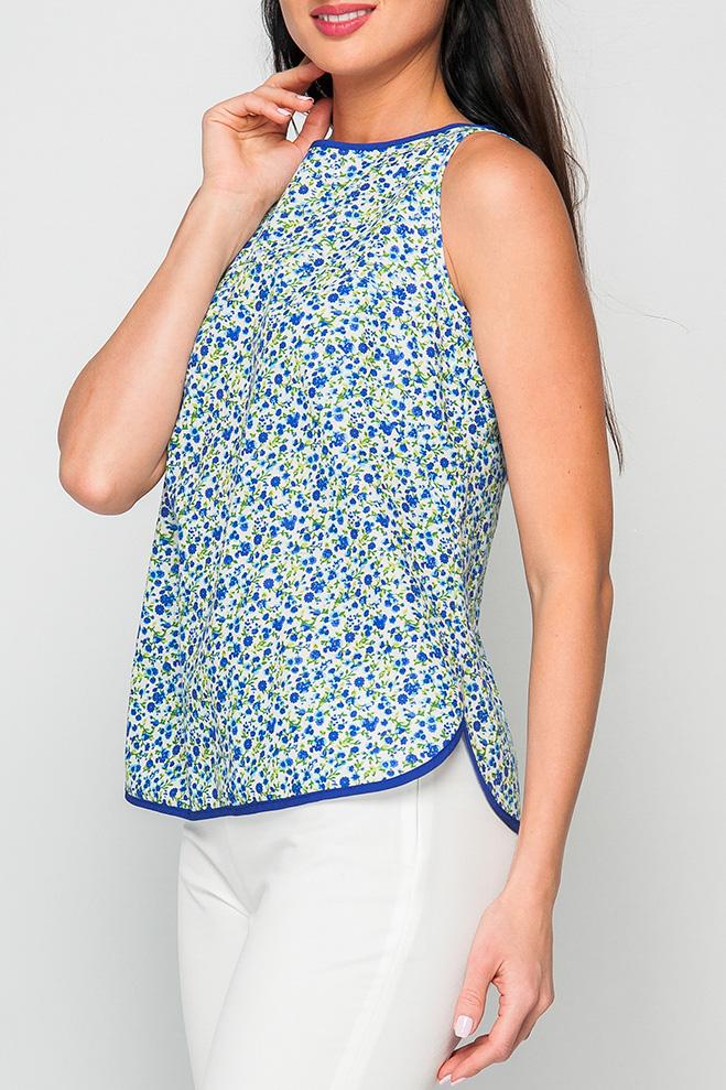 БлузаБлузки<br>Женская блуза из хлопка, легка и приятная к телу ткань, яркий принт и расцветка модели сделает ваш образ более ярким и запоминающимся.  Параметры изделия:  44 размер: обхват груди - 98 см, длина по спинке 58,5 см;  52 размер: обхват груди - 114 см, длина по спинке 58,5 см.  Цвет: белый, синий, зеленый  Рост девушки-фотомодели 170 см<br><br>Горловина: С- горловина<br>По материалу: Хлопок<br>По образу: Город,Свидание<br>По рисунку: Растительные мотивы,С принтом,Цветные,Цветочные<br>По сезону: Весна,Зима,Лето,Осень,Всесезон<br>По силуэту: Свободные<br>По стилю: Повседневный стиль<br>Рукав: Без рукавов<br>Размер : 52,56<br>Материал: Хлопок<br>Количество в наличии: 2