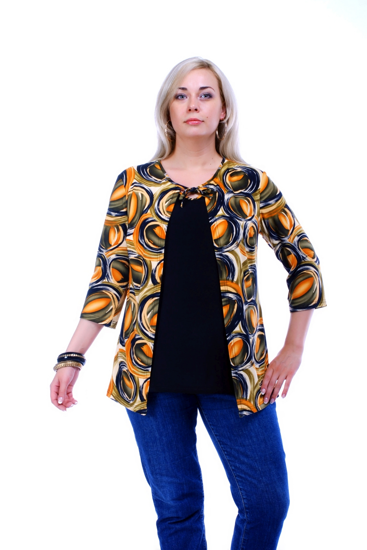 БлузкаБлузки<br>Женская блузка с рукавами 3/4. Модель выполнена из приятного материала. Отличный выбор для повседневного и делового гардероба. Блузка имитирует основу и кардиган.  Цвет: синий, желтый, зеленый, оранжевый  Рост девушки-фотомодели 173 см<br><br>По образу: Город,Свидание<br>По стилю: Повседневный стиль<br>По материалу: Трикотаж,Вискоза<br>По рисунку: Абстракция,Цветные<br>По сезону: Весна,Всесезон,Зима,Лето,Осень<br>По силуэту: Свободные<br>Рукав: Рукав три четверти<br>Горловина: С- горловина<br>Размер: 52,54,56,58,60,64,66,68,70<br>Материал: 60% вискоза 30% полиэстер 10% эластан<br>Количество в наличии: 8