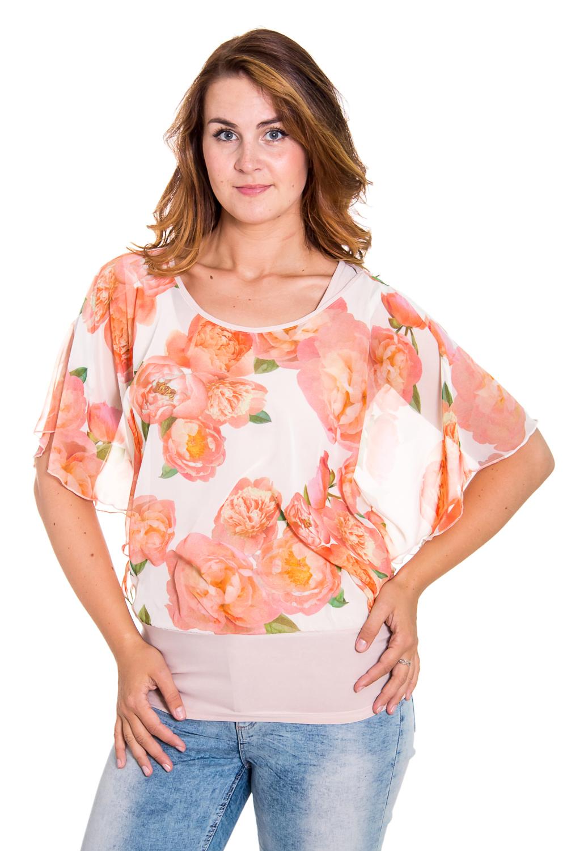 БлузкаБлузки<br>Прекрасная женская блузка с кругой горловиной и короткими рукавами. Модель выполнена из приятного трикотажа и воздушного шифона. Отличный выбор для любого случая.  Цвет: белый, розовый, оранжевый  Рост девушки-фотомодели 180 см<br><br>По образу: Город,Свидание<br>По стилю: Нарядный стиль,Повседневный стиль<br>По материалу: Трикотаж,Вискоза,Шифон<br>По рисунку: Цветные,Цветочные,Растительные мотивы<br>По сезону: Лето,Осень,Весна,Всесезон,Зима<br>По силуэту: Полуприталенные<br>Рукав: Короткий рукав<br>Горловина: С- горловина<br>Размер: 46,48,50,52,54,56<br>Материал: 95% вискоза 5% лайкра<br>Количество в наличии: 4