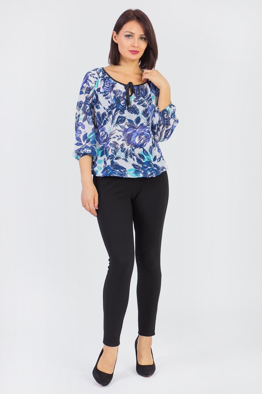 БлузкаБлузки<br>Красивая женская блузка с круглой горловиной и длинными рукавами. Модель выполнена из воздушного шифона. Отличный выбор для любого случая.   Цвет: синий, голубой, белый  Ростовка изделия 170 см.<br><br>Горловина: С- горловина<br>По материалу: Шифон<br>По рисунку: Растительные мотивы,С принтом,Цветные,Цветочные<br>По сезону: Весна,Зима,Лето,Осень,Всесезон<br>По стилю: Повседневный стиль<br>Рукав: Длинный рукав<br>По силуэту: Свободные<br>Размер : 46,48,50,52,54,56,58<br>Материал: Шифон<br>Количество в наличии: 25