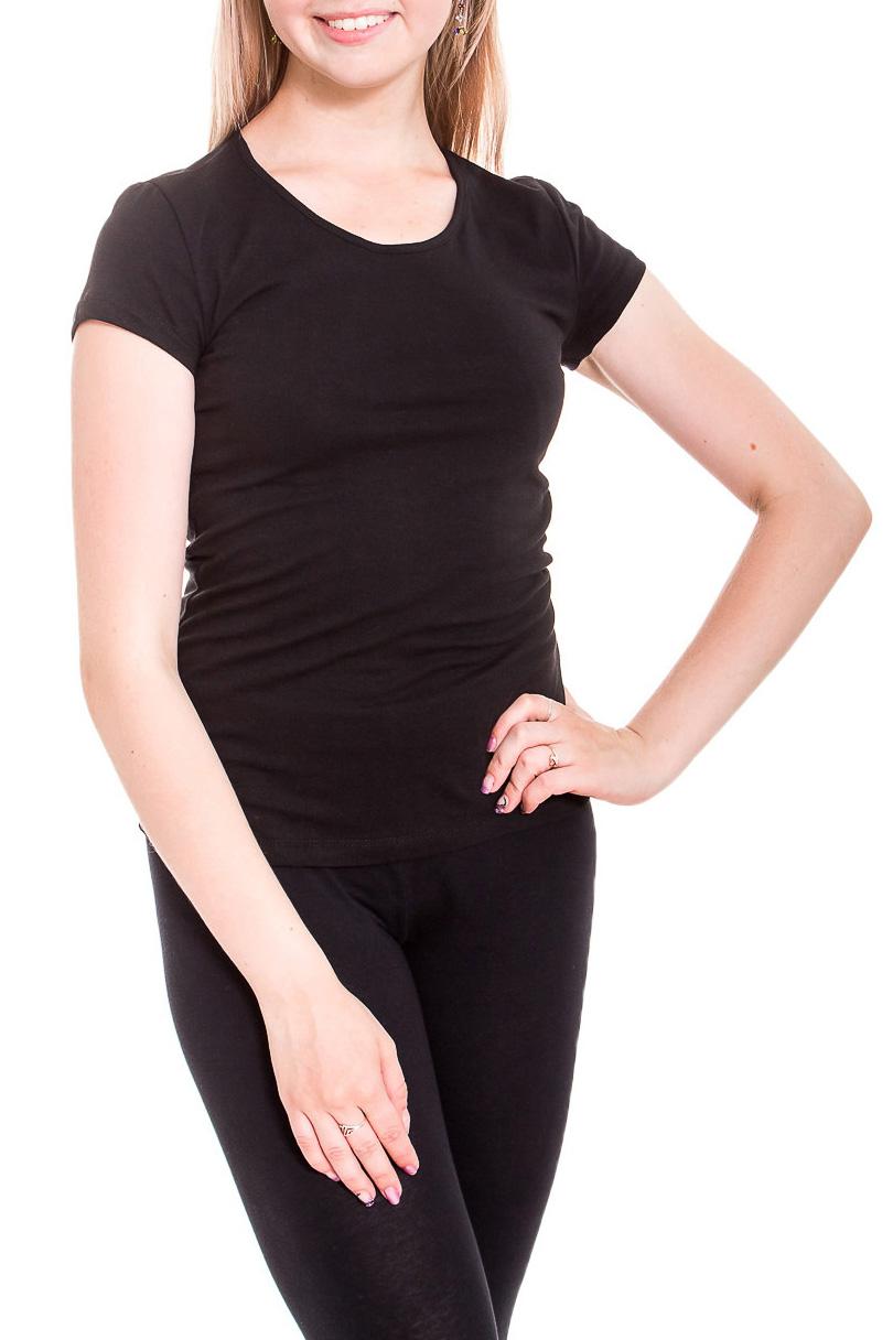 ФутболкаФутболки<br>Универсальная футболка с круглой горловиной и короткими рукавами. Модель выполнена из хлопкового материала. Отличный выбор для базового гардероба.   Цвет: черный  Рост девушки-фотомодели 170 см.<br><br>Горловина: С- горловина<br>По материалу: Трикотаж,Хлопок<br>По рисунку: Однотонные<br>По сезону: Весна,Зима,Лето,Осень,Всесезон<br>По силуэту: Приталенные<br>По стилю: Повседневный стиль,Спортивный стиль<br>Рукав: Короткий рукав<br>Размер : 44,46,48,52,54<br>Материал: Хлопок<br>Количество в наличии: 11