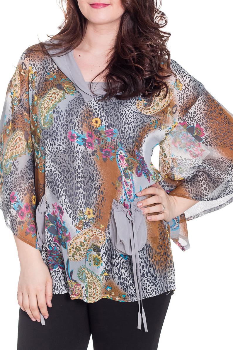 БлузкаБлузки<br>Свободная блузка с рукавами до локтя. Модель выполнена из воздушного шифона. Отличный выбор для любого случая.  Цвет: серый, бежевый, мультицвет  Рост девушки-фотомодели 180 см<br><br>По материалу: Шифон<br>По образу: Город,Свидание<br>По рисунку: Леопард,Растительные мотивы,С принтом,Цветные,Цветочные<br>По сезону: Весна,Зима,Лето,Осень,Всесезон<br>По силуэту: Свободные<br>По стилю: Повседневный стиль<br>По элементам: С карманами<br>Рукав: До локтя<br>Размер : 48,50,52<br>Материал: Шифон<br>Количество в наличии: 5