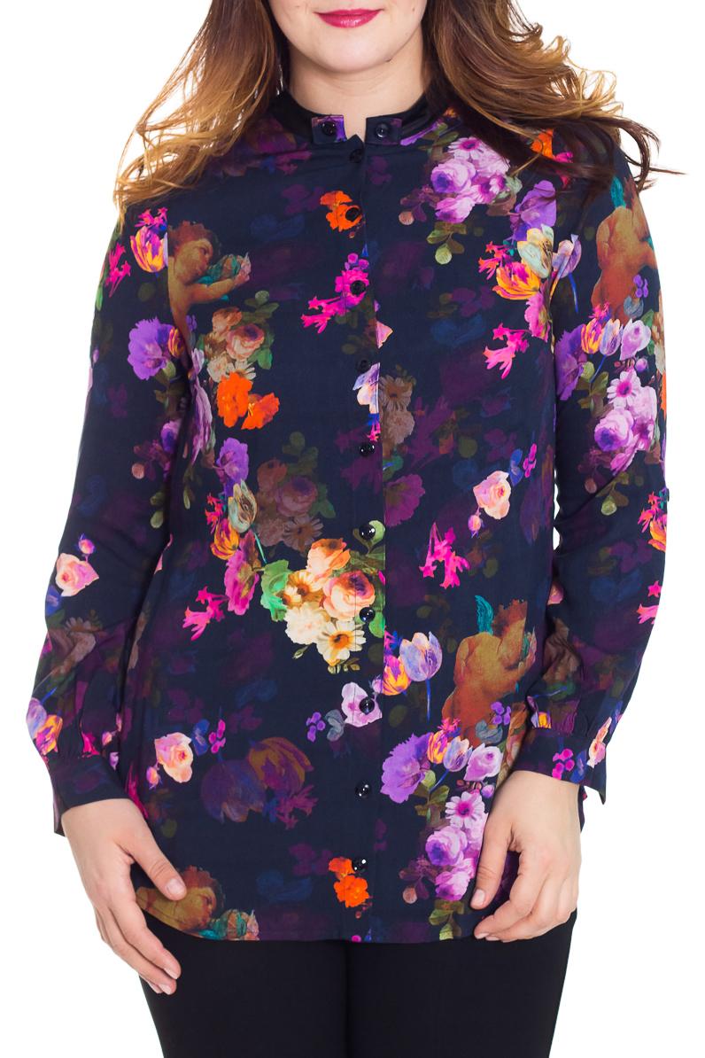 БлузкаБлузки<br>Яркая блузка с застежкой на пуговицы. Модель выполнена из приятного трикотажа. Отличный выбор для повседневного гардероба. Блузка без пояса   Цвет: синий, мультицвет  Рост девушки-фотомодели 180 см.<br><br>Воротник: Стойка<br>Застежка: С пуговицами<br>По материалу: Трикотаж,Вискоза<br>По образу: Город,Свидание<br>По рисунку: Растительные мотивы,Цветные,Цветочные,С принтом<br>По сезону: Весна,Всесезон,Зима,Лето,Осень<br>По силуэту: Полуприталенные<br>По стилю: Повседневный стиль<br>По элементам: С манжетами<br>Рукав: Длинный рукав<br>Размер : 48,50,54<br>Материал: Вискоза<br>Количество в наличии: 3