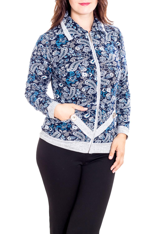 БлузкаКофты<br>Цветная блузка с длинными рукавами. Модель выполнена из приятного материала. Отличный выбор для повседневного гардероба.  В изделии использованы цвета: синий, белый, голубой  Рост девушки-фотомодели 180 см.<br><br>Воротник: Отложной<br>Застежка: С молнией<br>По длине: Средней длины<br>По материалу: Трикотаж<br>По рисунку: С принтом,Цветные,Этнические<br>По силуэту: Полуприталенные<br>По стилю: Повседневный стиль<br>По элементам: С карманами,С манжетами<br>Рукав: Длинный рукав<br>По сезону: Осень,Весна,Зима<br>Размер : 50,52,54,58,60<br>Материал: Трикотаж<br>Количество в наличии: 8