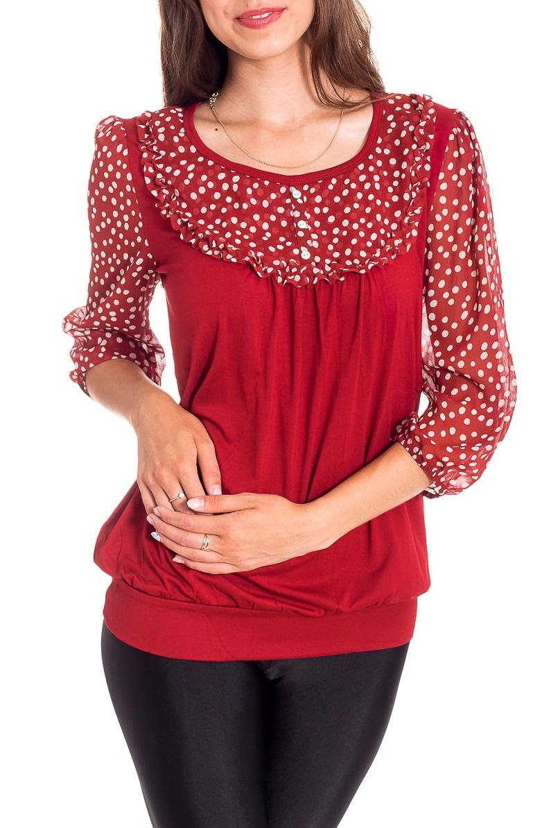БлузкаБлузки<br>Великолепная блузка с круглой горловиной и рукавами 3/4. Модель выполнена из мягкого трикотажа и воздушного шифона. Отличный выбор для любого случая.  В изделии использованы цвета: красный, белый  Рост девушки-фотомодели 170 см<br><br>Горловина: С- горловина<br>По материалу: Вискоза,Трикотаж,Шифон<br>По образу: Город,Свидание<br>По рисунку: В горошек,С принтом,Цветные<br>По сезону: Весна,Зима,Лето,Осень,Всесезон<br>По силуэту: Полуприталенные<br>По стилю: Повседневный стиль<br>По элементам: С воланами и рюшами<br>Рукав: Рукав три четверти<br>Размер : 44,50<br>Материал: Трикотаж + Шифон<br>Количество в наличии: 3
