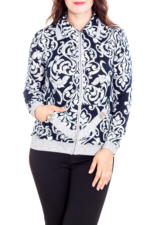 БлузкаКофты<br>Цветная блузка с длинными рукавами. Модель выполнена из приятного материала. Отличный выбор для повседневного гардероба.  В изделии использованы цвета: синий, серый  Рост девушки-фотомодели 180 см.<br><br>Воротник: Отложной<br>Застежка: С молнией<br>По длине: Средней длины<br>По материалу: Трикотаж<br>По образу: Город<br>По рисунку: С принтом,Цветные,Этнические<br>По силуэту: Полуприталенные<br>По стилю: Повседневный стиль<br>По элементам: С карманами,С манжетами<br>Рукав: Длинный рукав<br>По сезону: Осень,Весна<br>Размер : 50,52,54,56,58,60<br>Материал: Трикотаж<br>Количество в наличии: 9