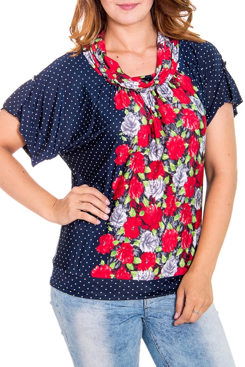 БлузкаБлузки<br>Эффектная женская блузка с воротником хомут и короткими рукавами. Модель выполнена из приятного трикотажа. Отличный выбор для повседневного гардероба.  Цвет: синий, белый, красный, зеленый   Рост девушки-фотомодели 180 см<br><br>Воротник: Хомут<br>По материалу: Вискоза,Трикотаж<br>По рисунку: В горошек,Растительные мотивы,Цветные,Цветочные<br>По сезону: Весна,Зима,Лето,Осень,Всесезон<br>По силуэту: Свободные<br>По стилю: Винтаж,Молодежный стиль,Повседневный стиль<br>Рукав: Короткий рукав<br>По элементам: С патами<br>Размер : 46,48,50,52<br>Материал: Холодное масло<br>Количество в наличии: 4