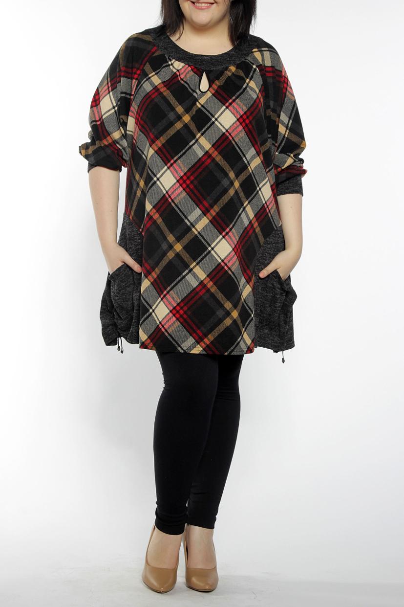 ТуникаТуники<br>Туника с круглым вырезом горловины, рукав на манжете 3/4, по бокам накладные карманы. Эту модель можно одеть под легинсы или платье. Замечательный вариант на каждый день.  В изделии использованы цвета: серый, черный, красный, бежевый и др.  Длина изделия 83 см.  Рост девушки-фотомодели 170 см.<br><br>Горловина: С- горловина<br>По материалу: Трикотаж,Шерсть<br>По рисунку: С принтом,Цветные,В клетку<br>По стилю: Повседневный стиль<br>По элементам: С карманами,С манжетами<br>Рукав: Рукав три четверти<br>По сезону: Осень,Весна,Зима<br>По силуэту: Свободные<br>Размер : 56,60,66<br>Материал: Трикотаж<br>Количество в наличии: 5