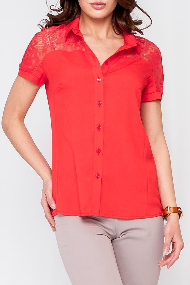 БлузкаБлузки<br>Прекрасная блузка с гипюрой вставкой на плечах. Модель выполнена из приятного материала. Отличный выбор для любого случая.  Цвет: красный  Рост девушки-фотомодели 170 см<br><br>Воротник: Рубашечный<br>По материалу: Гипюр,Шифон<br>По рисунку: Однотонные<br>По сезону: Весна,Зима,Лето,Осень,Всесезон<br>По силуэту: Полуприталенные<br>По стилю: Нарядный стиль,Повседневный стиль<br>Рукав: Короткий рукав<br>Размер : 42,44,46<br>Материал: Шифон<br>Количество в наличии: 3