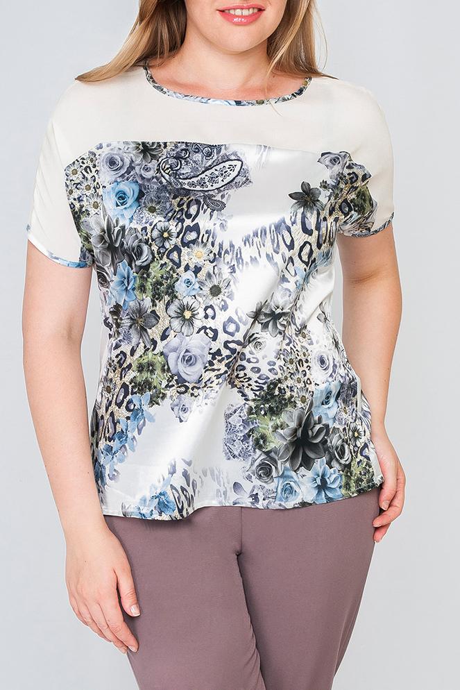 БлузкаБлузки<br>Стильная женская блуза, расцветка состоит из двух видов комбинированной ткани, сочетание пастельных тонов и нежного цветочного принта будет идеальным для создания изящного образа.   Параметры изделия:  44 размер: обхват бедер 99 см, длина изделия 62 см;  52 размер: обхват бедер 119 см, длина изделия 64 см.   Цвет: белый, серый, черный и др.  Рост девушки-фотомодели 175 см<br><br>Горловина: С- горловина<br>По материалу: Атлас<br>По рисунку: Леопард,Растительные мотивы,С принтом,Цветные,Цветочные,Этнические<br>По сезону: Весна,Зима,Лето,Осень,Всесезон<br>По силуэту: Полуприталенные<br>По стилю: Повседневный стиль,Летний стиль<br>Рукав: Короткий рукав<br>Размер : 40,42,44,46,48,50,54,56,58<br>Материал: Атлас<br>Количество в наличии: 9