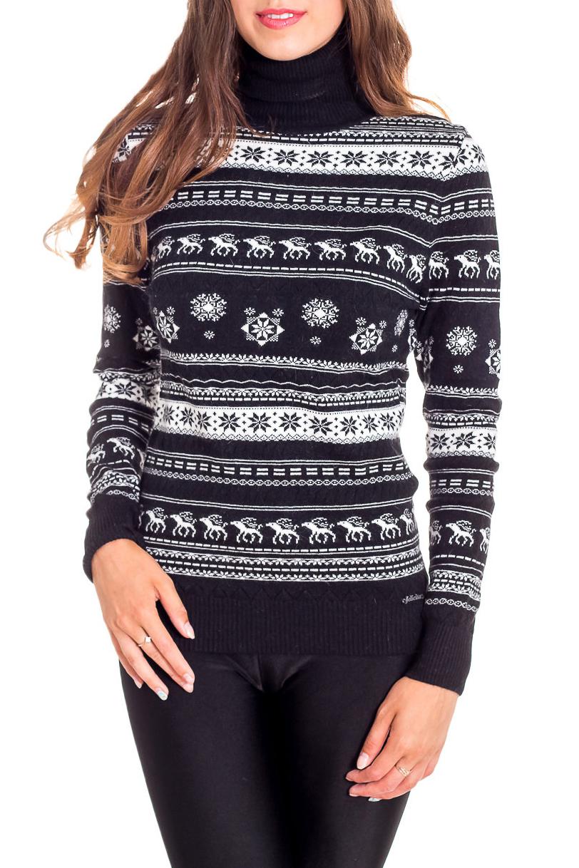 СвитерСвитеры<br>Цветной свитер с длинными рукавами из вязаного трикотажа. Вязаный трикотаж - это красота, тепло и комфорт. В вязаных вещах очень легко оставаться женственной и в то же время не замёрзнуть.  В изделии использованы цвета: черный, белый  Ростовка изделия 170 см<br><br>Воротник: Стойка<br>По материалу: Трикотаж<br>По рисунку: С принтом,Цветные<br>По сезону: Осень,Зима<br>По силуэту: Приталенные<br>По стилю: Повседневный стиль<br>Рукав: Длинный рукав<br>Размер : 44-46<br>Материал: Трикотаж<br>Количество в наличии: 2