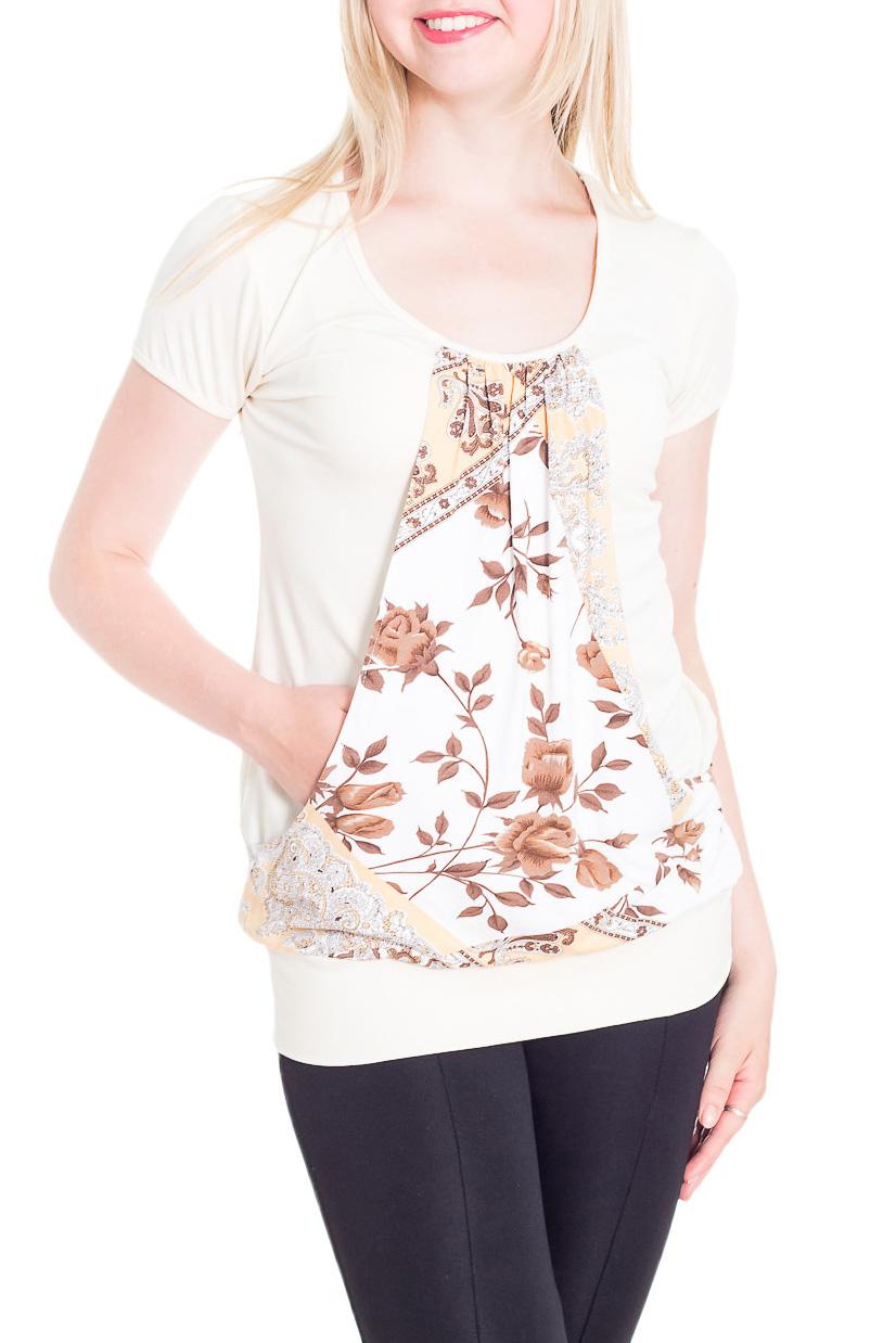 ФутболкаФутболки<br>Удлиненная футболка с карманами. Модель выполнена из приятного трикотажа. Отличный выбор для повседневного гардероба.  В изделии использованы цвета: белый, бежевый и др.  Рост девушки-фотомодели 170 см.<br><br>Горловина: С- горловина<br>По материалу: Вискоза<br>По рисунку: Растительные мотивы,С принтом,Цветные,Цветочные<br>По сезону: Весна,Зима,Лето,Осень,Всесезон<br>По силуэту: Полуприталенные<br>По стилю: Повседневный стиль<br>По элементам: С карманами<br>Рукав: Короткий рукав<br>Размер : 46,52,56<br>Материал: Вискоза<br>Количество в наличии: 3