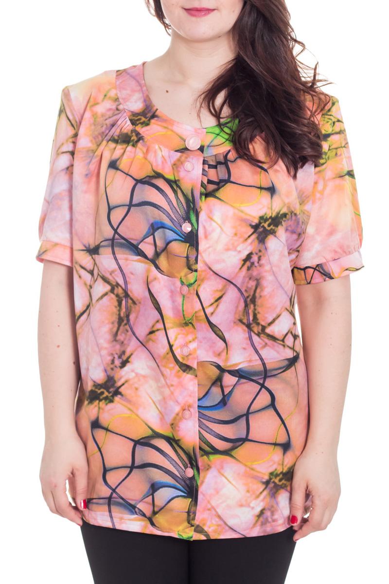 БлузкаБлузки<br>Яркая блузка с застежкой на пуговицы. Модель выполнена из приятного материала. Отличный выбор для повседневного гардероба. Ростовка изделия 170 см.  Цвет: розовый, оранжевый, синий  Рост девушки-фотомодели 180 см<br><br>Горловина: С- горловина<br>Застежка: С пуговицами<br>По материалу: Шелк<br>По образу: Город,Свидание<br>По рисунку: Абстракция,С принтом,Цветные<br>По сезону: Весна,Зима,Лето,Осень,Всесезон<br>По силуэту: Прямые<br>По стилю: Повседневный стиль<br>Рукав: Короткий рукав<br>Размер : 60,62,64,70<br>Материал: Искусственный шелк<br>Количество в наличии: 4