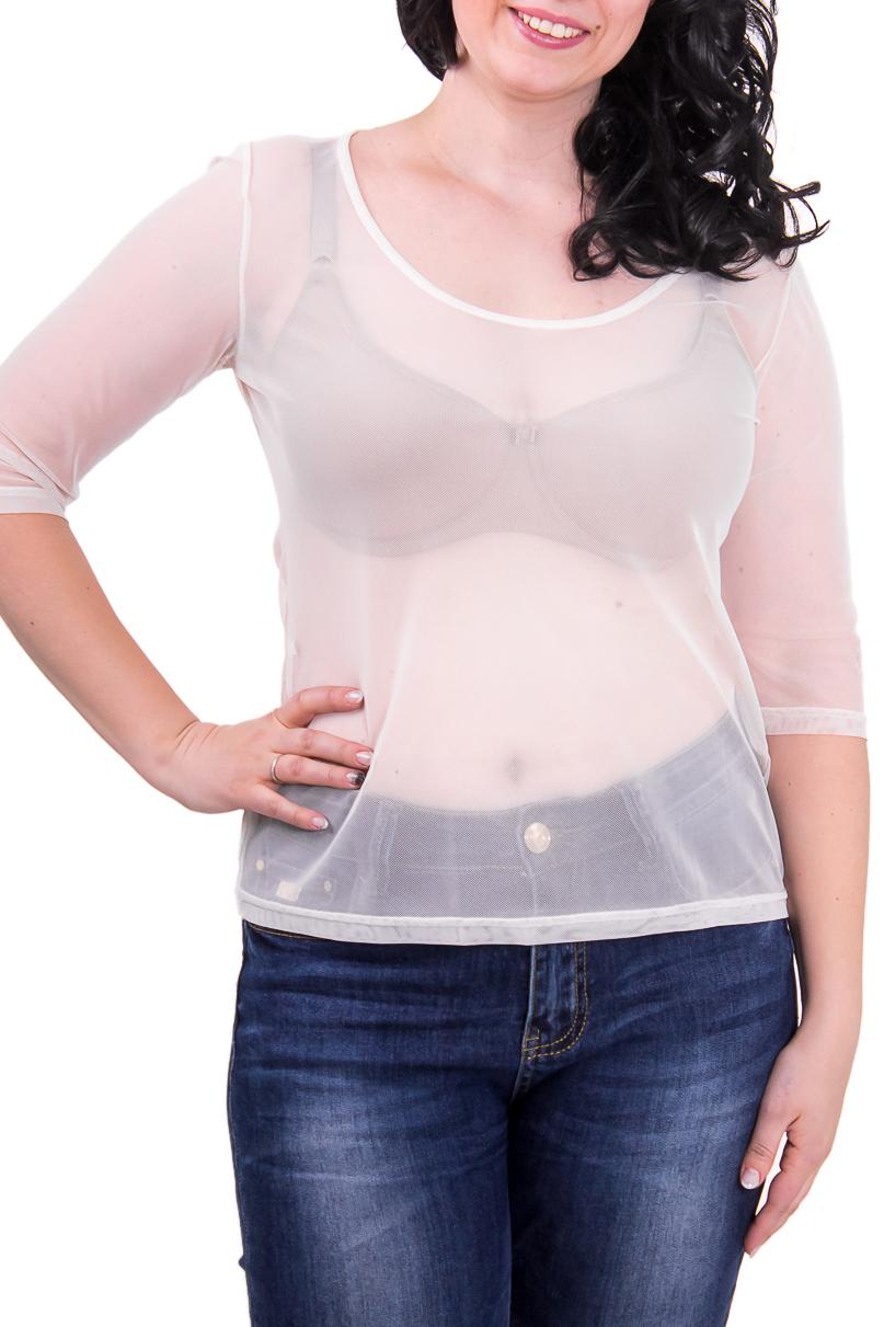 БлузкаБлузки<br>Женская блузка с круглой горловиной и рукавом 3/4. Модель выполнена из гипюровой сетки. Отличный вариант для повседневного гардероба. Хорошо сочетается с майкой DG(32)-FIO.  Рост девушки-фотомодели 168 см  Цвет: белый<br><br>Горловина: С- горловина<br>По материалу: Гипюровая сетка<br>По рисунку: Однотонные<br>По сезону: Лето,Весна,Зима,Осень,Всесезон<br>По силуэту: Полуприталенные<br>Рукав: Рукав три четверти<br>По стилю: Повседневный стиль<br>Размер : 48-50<br>Материал: Гипюровая сетка<br>Количество в наличии: 2