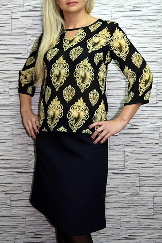 БлузкаБлузки<br>Стильная женская блузка с округлой горловиной и капелькой по переду изделия. Рукава 3/4. Цвет: черный, желто-бежевый.  Рост девушки-фотомодели 170 см<br><br>Горловина: С- горловина<br>По материалу: Вискоза,Шифон<br>По рисунку: С принтом,Цветные<br>По сезону: Весна,Всесезон,Зима,Лето,Осень<br>По силуэту: Полуприталенные<br>По стилю: Повседневный стиль<br>По элементам: С декором<br>Рукав: Рукав три четверти<br>Размер : 46,48<br>Материал: Шифон<br>Количество в наличии: 2