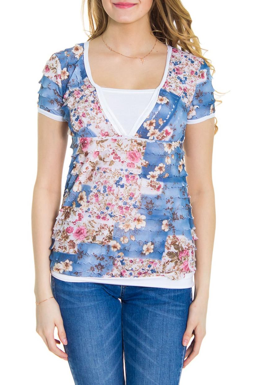 БлузкаБлузки<br>Женская блузка с короткими рукавами. Модель выполнена из мягкой вискозы. Отличный выбор для повседневного гардероба.  За счет свободного кроя и эластичного материала изделие можно носить во время беременности  Рост девушки-фотомодели 176 см  Цвет: белый, розовый, голубой<br><br>По материалу: Вискоза,Трикотаж<br>По рисунку: Растительные мотивы,Цветные,Цветочные,С принтом<br>По сезону: Весна,Лето,Зима,Осень,Всесезон<br>По силуэту: Полуприталенные<br>Рукав: Короткий рукав<br>По стилю: Повседневный стиль,Романтический стиль<br>Горловина: Квадратная горловина<br>По элементам: С воланами и рюшами,С декором<br>Размер : 44,46,48,50<br>Материал: Вискоза<br>Количество в наличии: 4