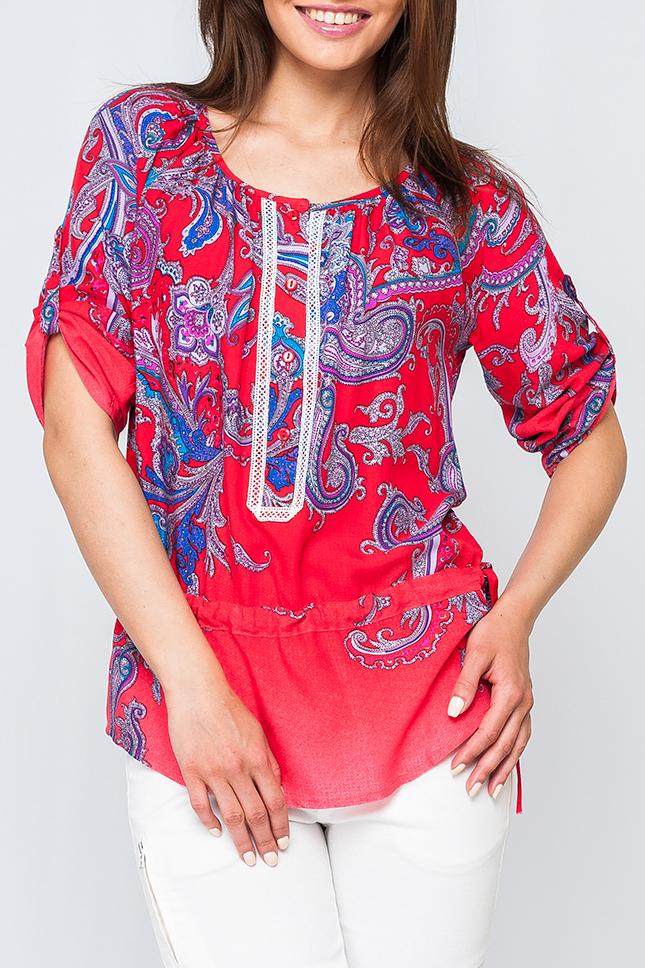 БлузкаБлузки<br>Стильная женская рубашка, по грудке украшено пуговичками, рукава регулируются застежками, позволяя укоротить или опустить, по линии бедер поясок, с помощью которого можно утянуть изделие.   Параметры изделия:  48 размер: обхват по линии груди - 120 см, обхват по линии бедер - 113 см, длина по спинке - 71,5 см;  60 размер: обхват по линии груди - 144 см, обхват по линии бедер - 137 см, длина по спинке - 76 см; рукава 3/4  Цвет: красный, синий  Рост девушки-фотомодели 170 см<br><br>Горловина: С- горловина<br>По материалу: Хлопок<br>По рисунку: С принтом,Цветные,Этнические<br>По сезону: Весна,Зима,Лето,Осень,Всесезон<br>По силуэту: Прямые<br>По стилю: Повседневный стиль<br>По элементам: С декором,С патами<br>Рукав: Рукав три четверти<br>Размер : 42,60<br>Материал: Хлопок<br>Количество в наличии: 2