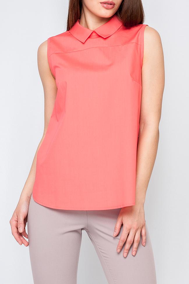 БлузкаБлузки<br>Женская блуза из легкой ткани, модель свободного покроя, нежный цвет подойдет как и для романтического свидания так и для деловой встречи, идеально будет сочетаться с брюками.   Параметры размеров: 44 размер: обхват груди - 96 см, обхват по линии бедер - 104 см, длина по спинке - 61 см; 52 размер: обхват груди - 112 см, обхват по линии бедер - 120 см, длина по спинке - 64 см  Цвет: коралловый  Рост девушки-фотомодели 170 см<br><br>Воротник: Отложной<br>Застежка: С молнией<br>По материалу: Тканевые,Хлопок<br>По образу: Город,Свидание<br>По рисунку: Однотонные<br>По сезону: Весна,Зима,Лето,Осень,Всесезон<br>По силуэту: Свободные<br>По стилю: Повседневный стиль<br>По элементам: С отделочной фурнитурой<br>Рукав: Без рукавов<br>Размер : 40<br>Материал: Блузочная ткань<br>Количество в наличии: 1