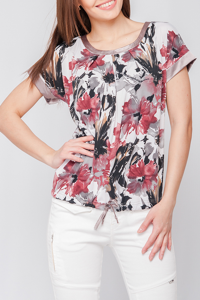 БлузкаБлузки<br>Блуза из тонкого трикотажного полотна свободного силуэта. Круглый вырез горловины и короткие рукава оформлены однотонным атласом. Низ блузы собран на кулиску. Яркий принт привлечет внимание и станет ярким акцентом в Вашем образе. Модель идеально сочетается как с юбкой так и с брюками.  Параметры изделия:  44 размер: ширина по линии бедер - 98 см, длина по спинке - 58 см;  52 размер: ширина по линии бедер - 114 см, длини по спинке - 62,5см 42-50 р: Рост модели 170 см, 42 размер; 50-60 р  Цвет: белый, серый, розовый  Рост девушки-фотомодели 170 см<br><br>Горловина: С- горловина<br>По материалу: Трикотаж<br>По образу: Город,Свидание<br>По рисунку: Растительные мотивы,С принтом,Цветные,Цветочные<br>По сезону: Весна,Зима,Лето,Осень,Всесезон<br>По силуэту: Прямые<br>По стилю: Повседневный стиль<br>По элементам: С манжетами<br>Рукав: Короткий рукав<br>Размер : 42,46,60<br>Материал: Холодное масло<br>Количество в наличии: 3