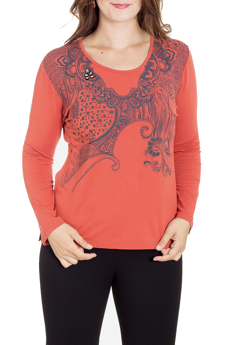 БлузаБлузки<br>Цветная блузка приталенного силуэта с длинными рукавами. Модель выполнена из приятного материала. Отличный выбор для повседневного гардероба.  В изделии использованы цвета: оранжевый, синий  Рост девушки-фотомодели 180 см.<br><br>Горловина: С- горловина<br>По материалу: Вискоза<br>По рисунку: С принтом,Цветные<br>По сезону: Весна,Зима,Лето,Осень,Всесезон<br>По силуэту: Приталенные<br>По стилю: Повседневный стиль<br>Рукав: Длинный рукав<br>Размер : 46,48,52<br>Материал: Вискоза<br>Количество в наличии: 3