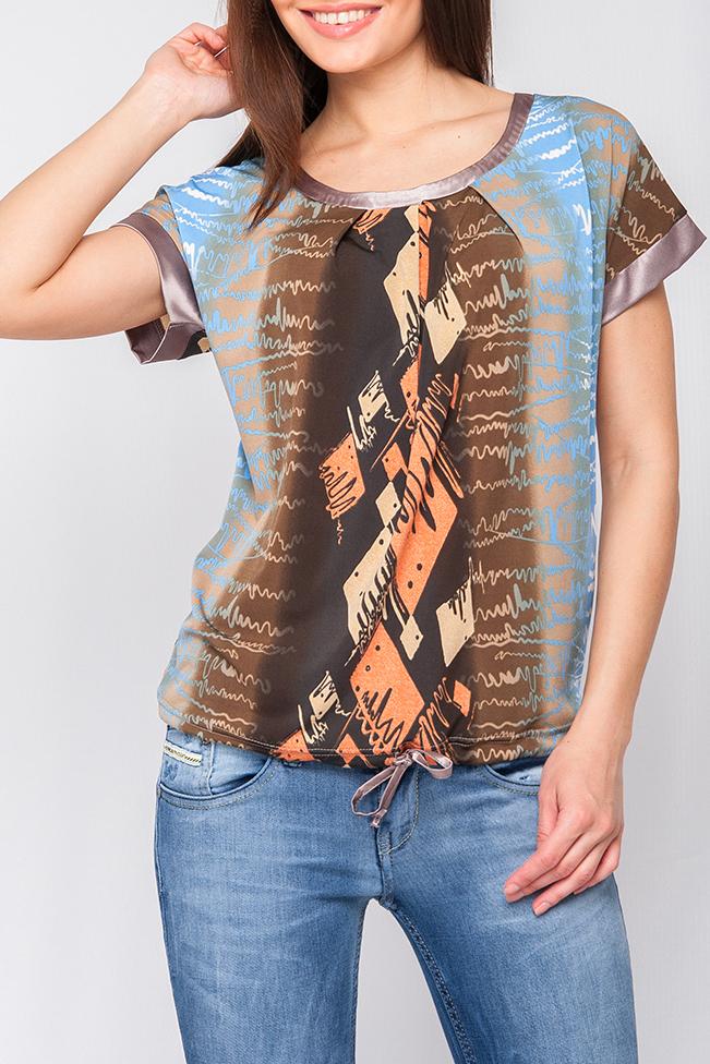 БлузкаБлузки<br>Блуза из тонкого трикотажного полотна свободного силуэта. Круглый вырез горловины и короткие рукава оформлены однотонным атласом. Низ блузы собран на кулиску. Яркий принт привлечет внимание и станет ярким акцентом в Вашем образе. Модель идеально сочетается как с юбкой так и с брюками.  Параметры изделия:  44 размер: ширина по линии бедер - 98 см, длина по спинке - 58 см;  52 размер: ширина по линии бедер - 114 см, длини по спинке - 62,5см 42-50 р: Рост модели 170 см, 42 размер; 50-60 р  Цвет: бежевый, коричневый, голубой  Рост девушки-фотомодели 170 см<br><br>Горловина: С- горловина<br>По материалу: Трикотаж<br>По образу: Город,Свидание<br>По рисунку: С принтом,Цветные<br>По сезону: Весна,Зима,Лето,Осень,Всесезон<br>По силуэту: Прямые<br>По стилю: Повседневный стиль<br>По элементам: С манжетами<br>Рукав: Короткий рукав<br>Размер : 42,48<br>Материал: Холодное масло<br>Количество в наличии: 2