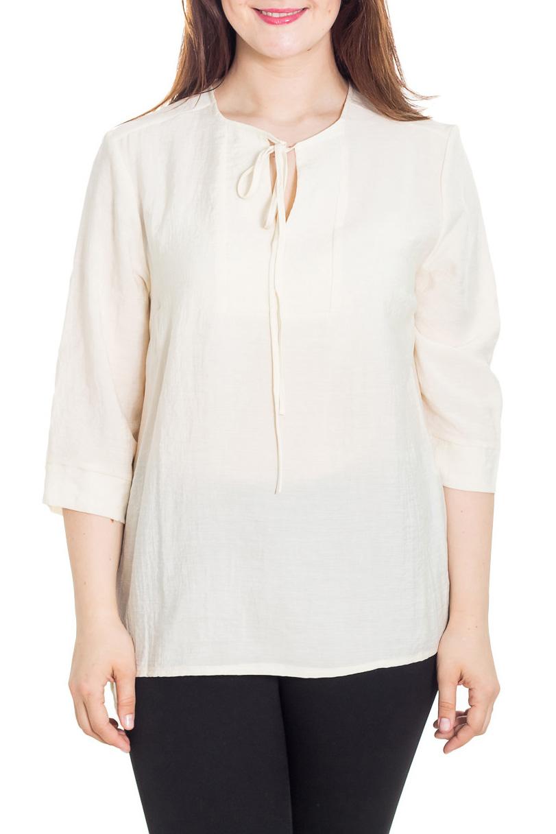 БлузкаБлузки<br>Удлиненная блузка с рукавами 3/4. Модель выполнена из приятного материала. Отличный выбор для любого случая.  Цвет: молочный  Рост девушки-фотомодели 180 см.<br><br>Горловина: С- горловина<br>По материалу: Вискоза,Тканевые<br>По рисунку: Однотонные<br>По сезону: Весна,Зима,Лето,Осень,Всесезон<br>По силуэту: Прямые<br>По стилю: Повседневный стиль<br>Рукав: Рукав три четверти<br>Размер : 52,54,56,66<br>Материал: Блузочная ткань<br>Количество в наличии: 5