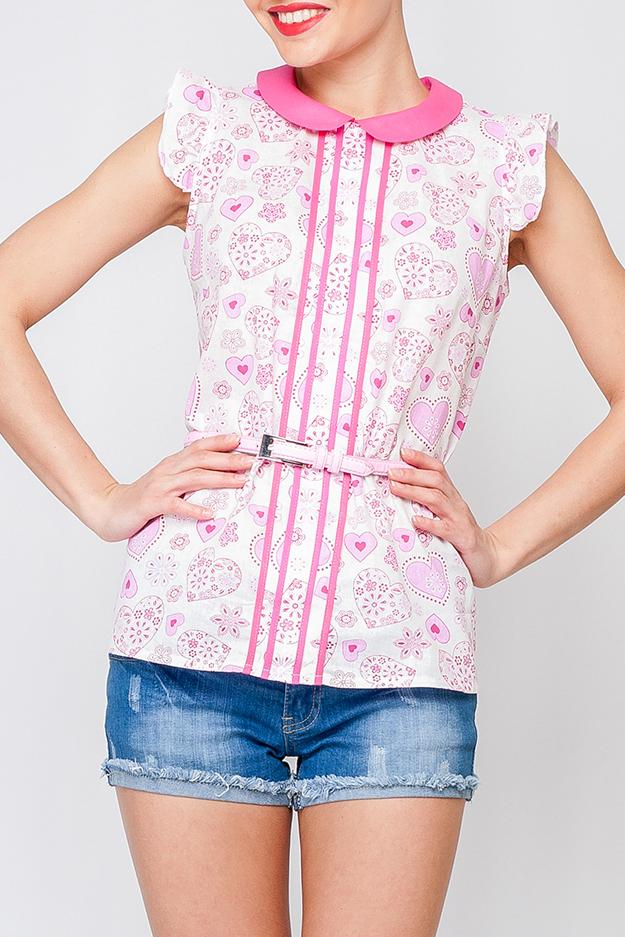 БлузкаБлузки<br>Романтическая женская блуза с отделкой по воротничку и переду блузы. Модель будет отлично смотреться в сочетании с летними шортами, так и с брюками.  Блузка без пояса.  Параметры изделия:  44 размер: обхват по лнии груди 99 см, обхват по линии бедер - 105 см, длина по спинке - 62 см;  48 размер: обхват по лнии груди 107 см, обхват по линии бедер - 113 см, длина по спинке - 63 см.   Цвет: белый, розовый  Рост девушки-фотомодели 170 см<br><br>Воротник: Отложной<br>Горловина: С- горловина<br>По материалу: Хлопок<br>По рисунку: Растительные мотивы,С принтом,Цветные,Цветочные<br>По сезону: Весна,Зима,Лето,Осень,Всесезон<br>По силуэту: Приталенные<br>По стилю: Повседневный стиль,Романтический стиль,Летний стиль<br>По элементам: С воланами и рюшами<br>Рукав: Без рукавов<br>Размер : 46,48<br>Материал: Хлопок<br>Количество в наличии: 2