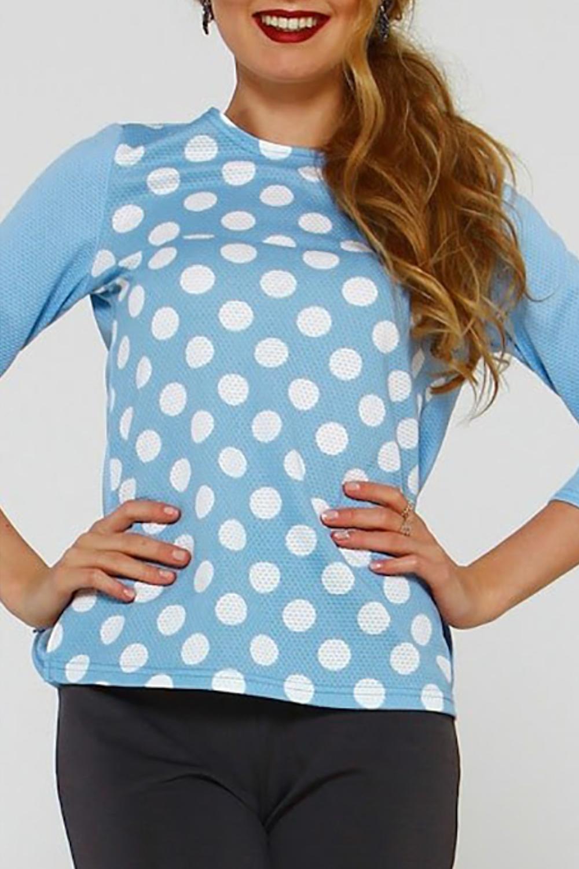 БлузкаБлузки<br>Блуза из плотного трикотажного полотна прямого силуэта с небольшими разрезами по бокам, рукав втачной, 3/4. Идеальный выбор для повседневной носки, и по особому случаю. Эффектная модель подчеркивает лёгкость, женственность и романтичность своей обладательницы    Длина изделия от 59 см до 62 см , в зависимости от размера.  В изделии использованы цвета: голубой, белый  Рост девушки-фотомодели 175 см.<br><br>Горловина: С- горловина<br>По материалу: Трикотаж<br>По образу: Город,Свидание<br>По рисунку: В горошек,С принтом,Цветные<br>По сезону: Весна,Зима,Лето,Осень,Всесезон<br>По силуэту: Прямые<br>По стилю: Кэжуал,Повседневный стиль<br>Рукав: Рукав три четверти<br>Размер : 46,48,50,52<br>Материал: Трикотаж<br>Количество в наличии: 4