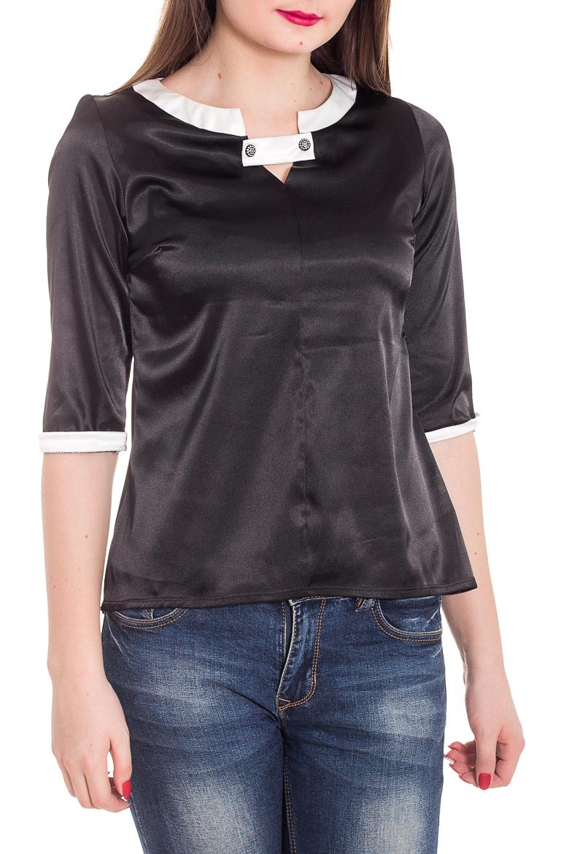 БлузкаБлузки<br>Чудесная женская блузка из приятного к телу атласа станет прекрасным дополнением к Вашему гардеробу. Рукава 3/4.  Цвет: черный, белый  Рост девушки-фотомодели 180 см.<br><br>По материалу: Атлас<br>По рисунку: Цветные<br>По сезону: Весна,Зима,Лето,Осень,Всесезон<br>По силуэту: Прямые<br>По стилю: Повседневный стиль<br>Рукав: До локтя<br>Горловина: Фигурная горловина<br>Размер : 44,46,48<br>Материал: Атлас<br>Количество в наличии: 3